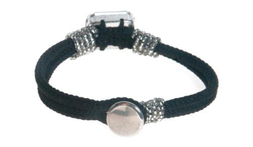 Bracciale in tondino intrecciato con pietra in cristallo Swarovski