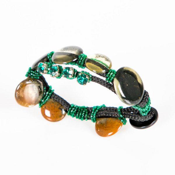 Bracciale con resine, jaiis e strass verde smeraldo