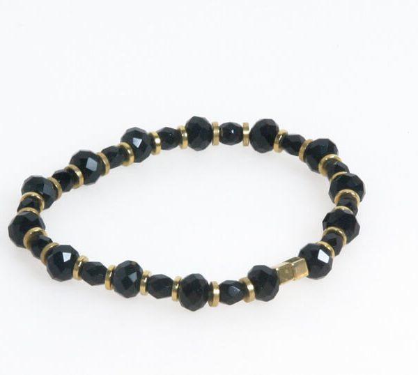 Bracciale con perle sfaccettate nero