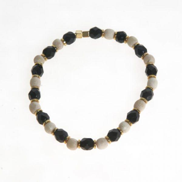 Bracciale con perle sfaccettate nero e avorio