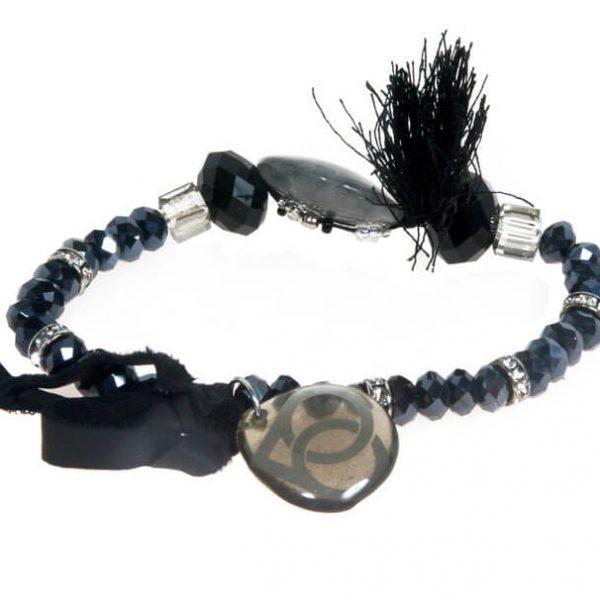 Bracciale elastico con perle, strass e nappina