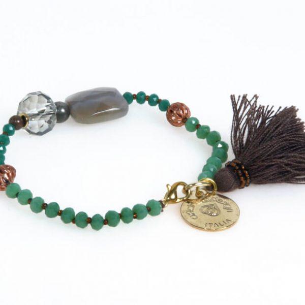 Bracciale con perle, pietre dure e cristalli - nichel free