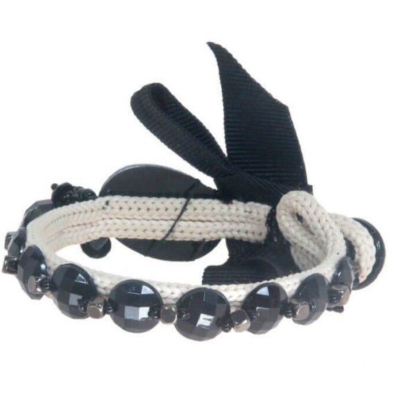 Bracciale basso con fiocco, pietre sfaccettate e cubetti metallici