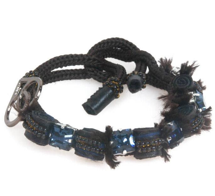 Bracciale basso con pietre carrè blu, pelle e jaiis
