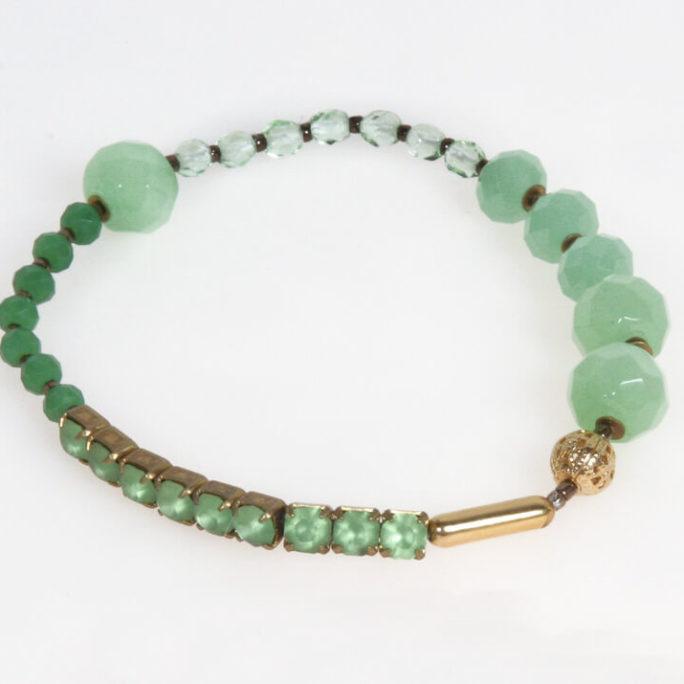 Bracciale elastico in cristallo verde e strass