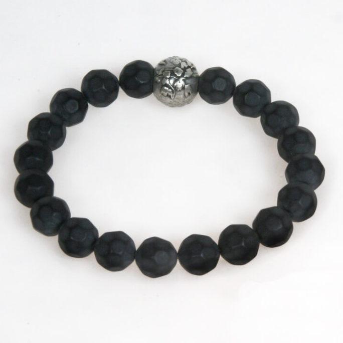 Bracciale elastico unisex con perle in resina