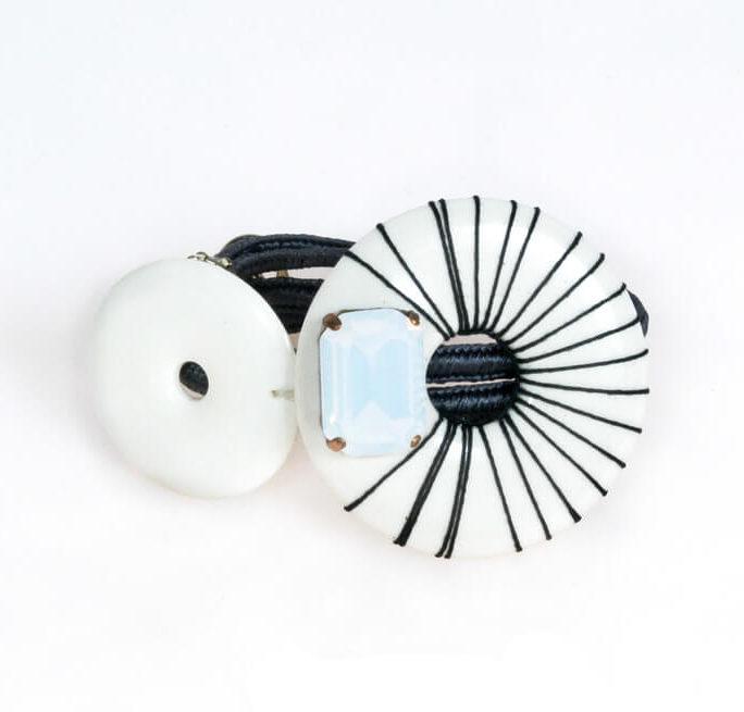 Bracciale con cerchi in resina, pietra, jaiis