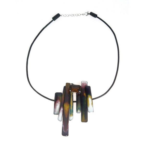 Collana girocollo in resina multicolor con Swarovski topazio