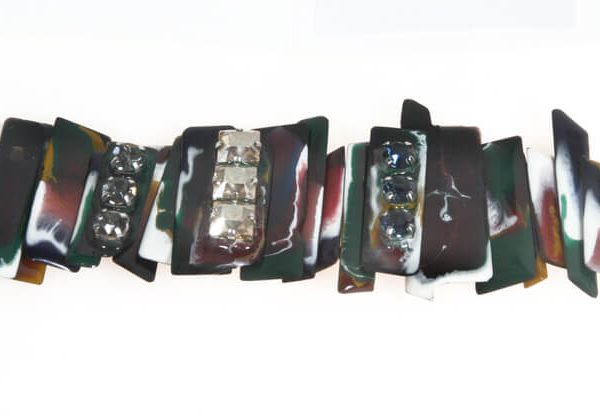 Bracciale alto in resina multicolor e Swarovski
