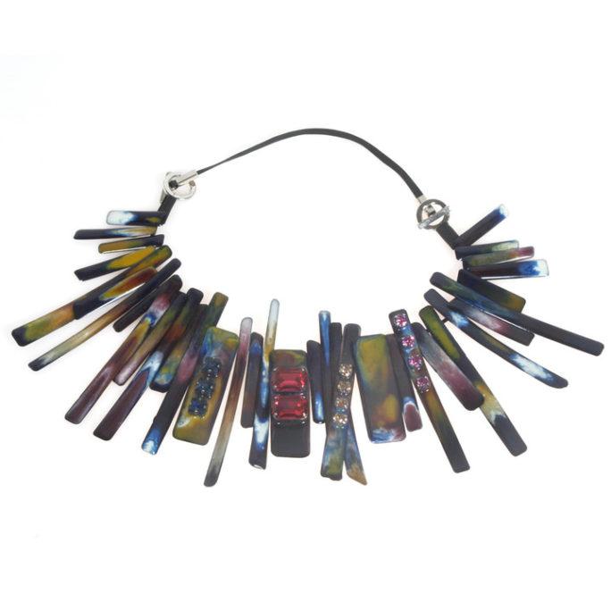 Collana girocollo multicolor con Swarovski di varie forme
