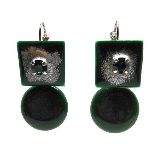 Orecchini verdi con pietra pendente